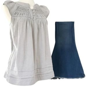 Gray Linen Pleated Babydoll Tunic Blouse